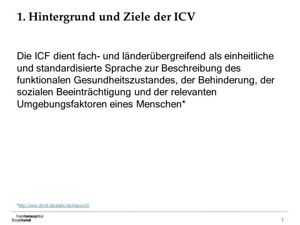 3 1. Hintergrund und Ziele der ICV Die ICF dient fach- und länderübergreifend als einheitliche und standardisierte Sprache zur Beschreibung des funkti