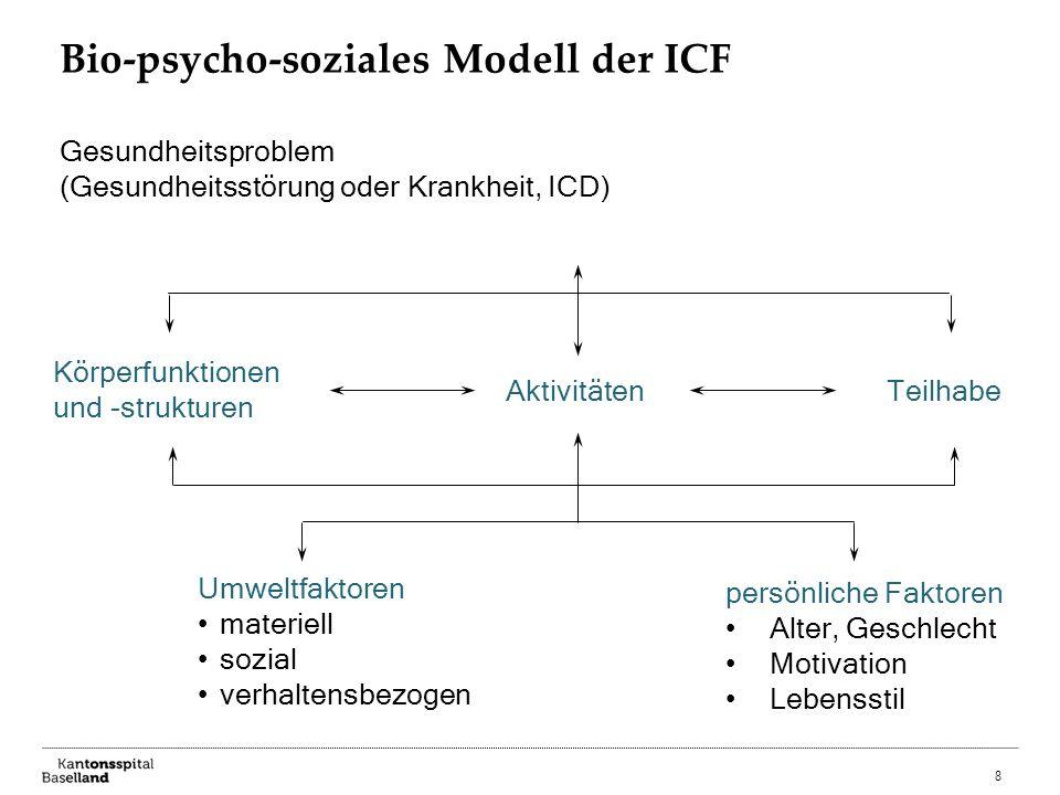 8 Bio-psycho-soziales Modell der ICF Gesundheitsproblem (Gesundheitsstörung oder Krankheit, ICD) Körperfunktionen und -strukturen AktivitätenTeilhabe