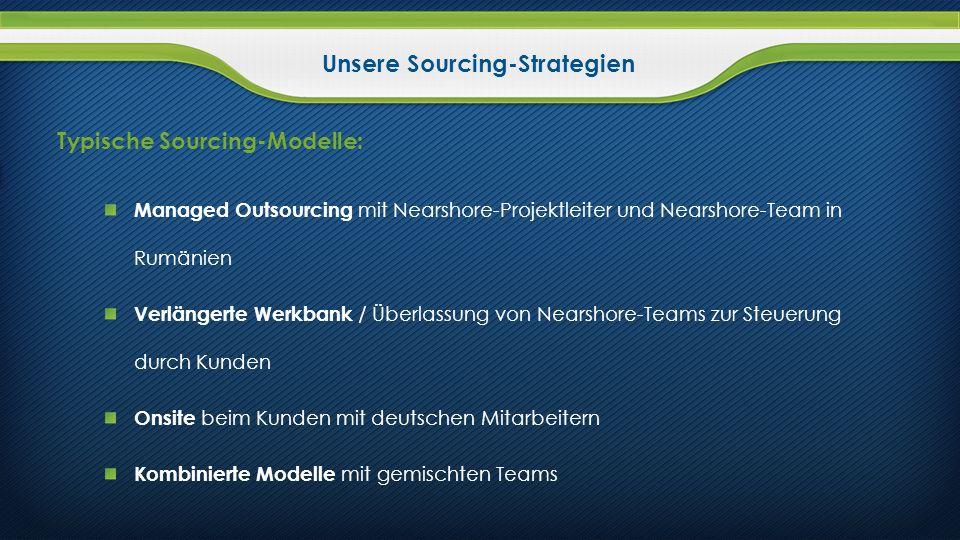 Unsere Sourcing-Strategien Typische Sourcing-Modelle: Managed Outsourcing mit Nearshore-Projektleiter und Nearshore-Team in Rumänien Verlängerte Werkb