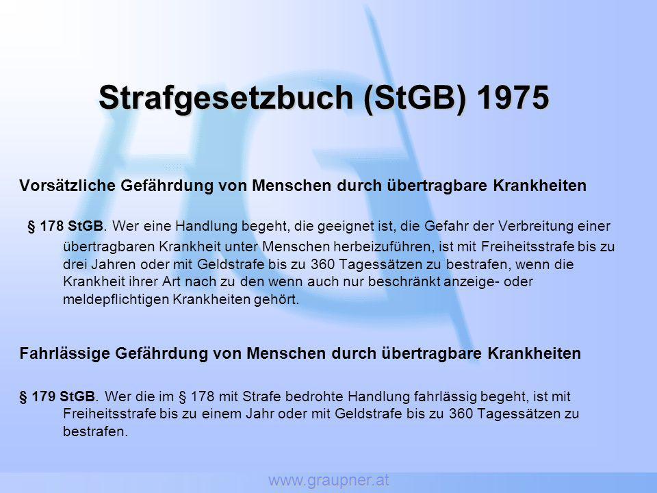 www.graupner.at Strafgesetzbuch (StGB) 1975 Vorsätzliche Gefährdung von Menschen durch übertragbare Krankheiten § 178 StGB. Wer eine Handlung begeht,