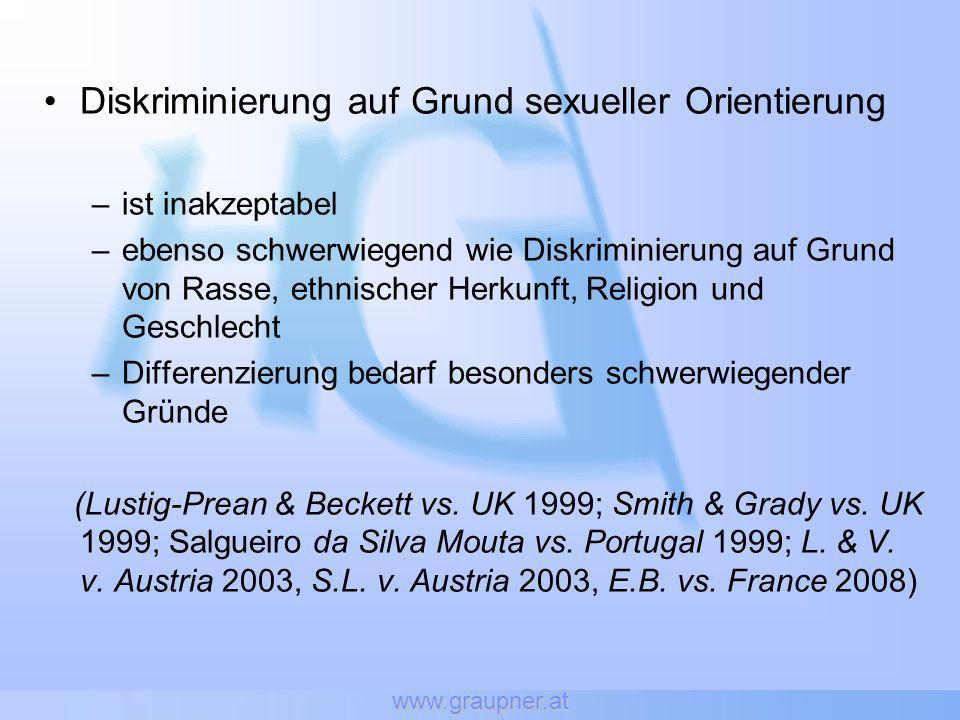 www.graupner.at Diskriminierung auf Grund sexueller Orientierung –ist inakzeptabel –ebenso schwerwiegend wie Diskriminierung auf Grund von Rasse, ethn