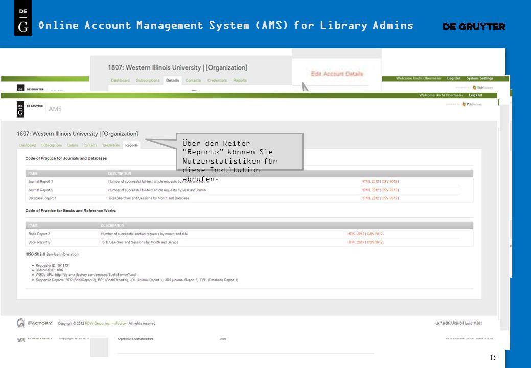 15 Online Account Management System (AMS) for Library Admins Loggen Sie sich in Ihr Nutzerkonto ein: http://dg- amx.ifactory.com/login Nach dem Login wird Ihnen ein Überblick über alle verfügbaren Optionen für Ihre Institution angezeigt.