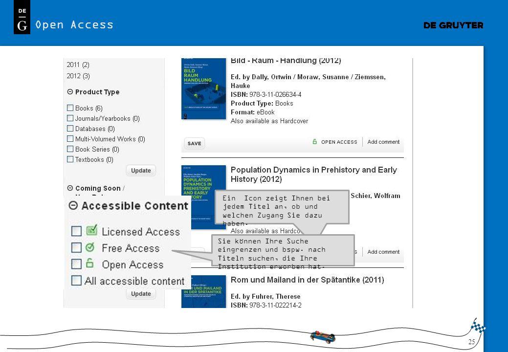 25 Open Access Ein Icon zeigt Ihnen bei jedem Titel an, ob und welchen Zugang Sie dazu haben. Sie können Ihre Suche eingrenzen und bspw. nach Titeln s