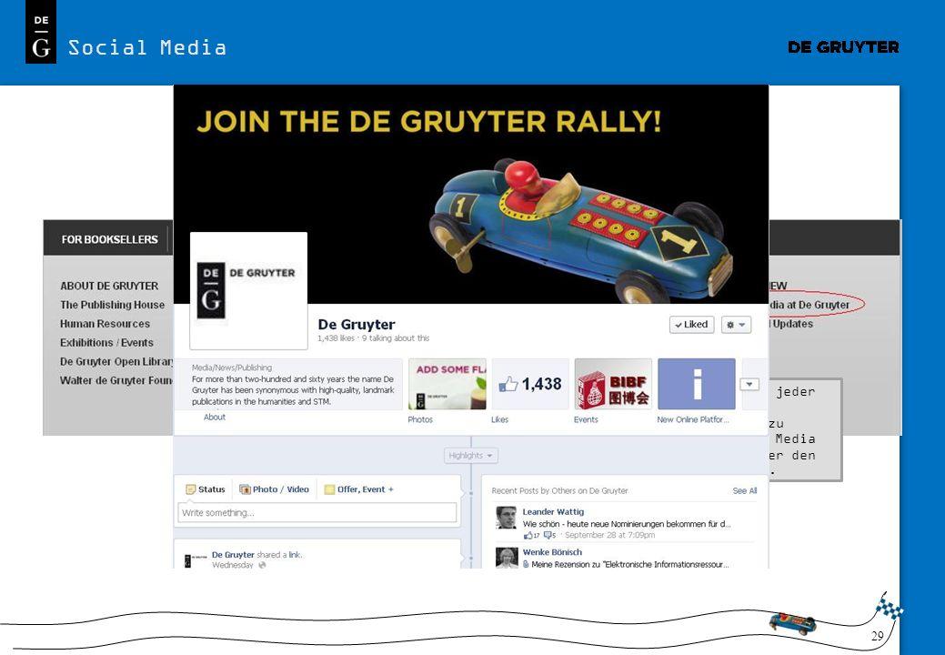 29 Social Media Sie finden auf jeder Seite alle Informationen zu unseren Social Media Aktivitäten über den Link im Footer. Auf Facebook und Twitter ha