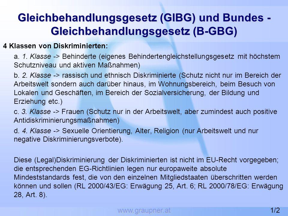 www.graupner.at Gleichbehandlungsgesetz (GlBG) und Bundes - Gleichbehandlungsgesetz (B-GBG) 4 Klassen von Diskriminierten: a. 1. Klasse -> Behinderte
