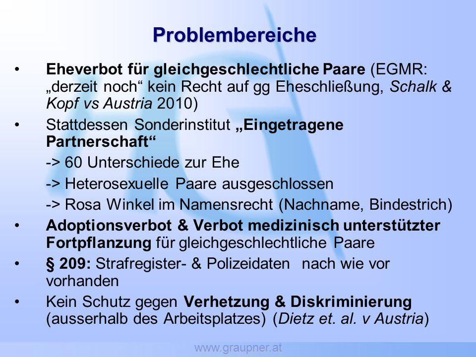 www.graupner.at Problembereiche Eheverbot für gleichgeschlechtliche Paare (EGMR: derzeit noch kein Recht auf gg Eheschließung, Schalk & Kopf vs Austri