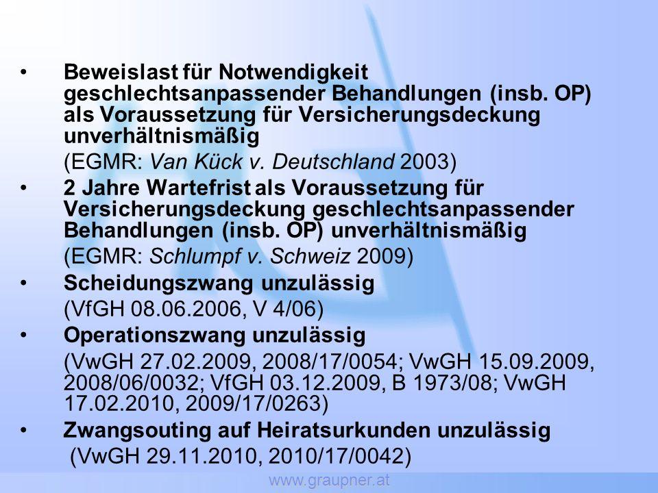 www.graupner.at Beweislast für Notwendigkeit geschlechtsanpassender Behandlungen (insb. OP) als Voraussetzung für Versicherungsdeckung unverhältnismäß