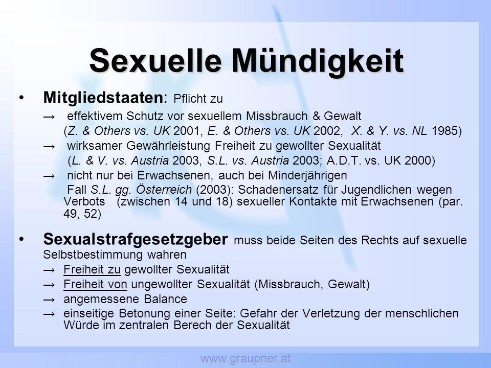 www.graupner.at Sexuelle Mündigkeit Mitgliedstaaten: Pflicht zu effektivem Schutz vor sexuellem Missbrauch & Gewalt (Z. & Others vs. UK 2001, E. & Oth