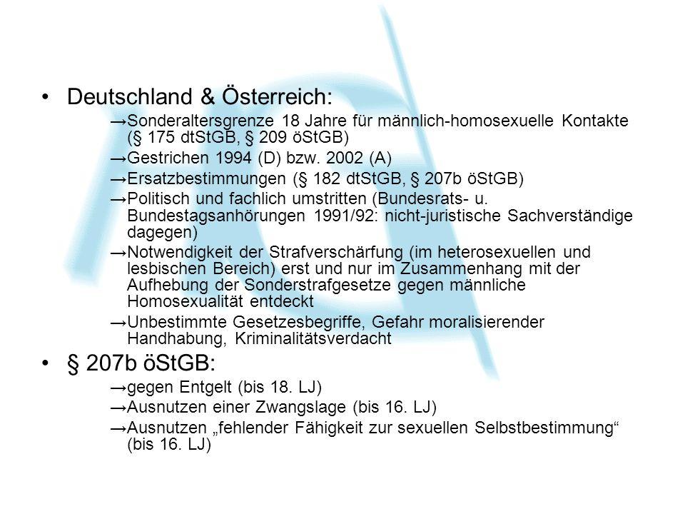 Deutschland & Österreich: Sonderaltersgrenze 18 Jahre für männlich-homosexuelle Kontakte (§ 175 dtStGB, § 209 öStGB) Gestrichen 1994 (D) bzw. 2002 (A)