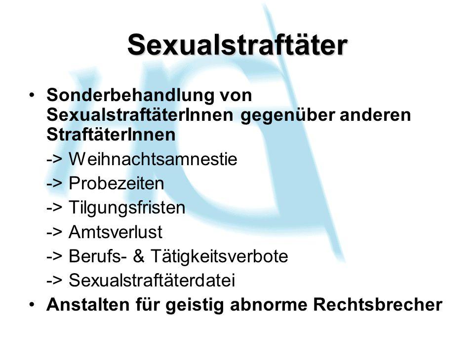 Sexualstraftäter Sonderbehandlung von SexualstraftäterInnen gegenüber anderen StraftäterInnen -> Weihnachtsamnestie -> Probezeiten -> Tilgungsfristen