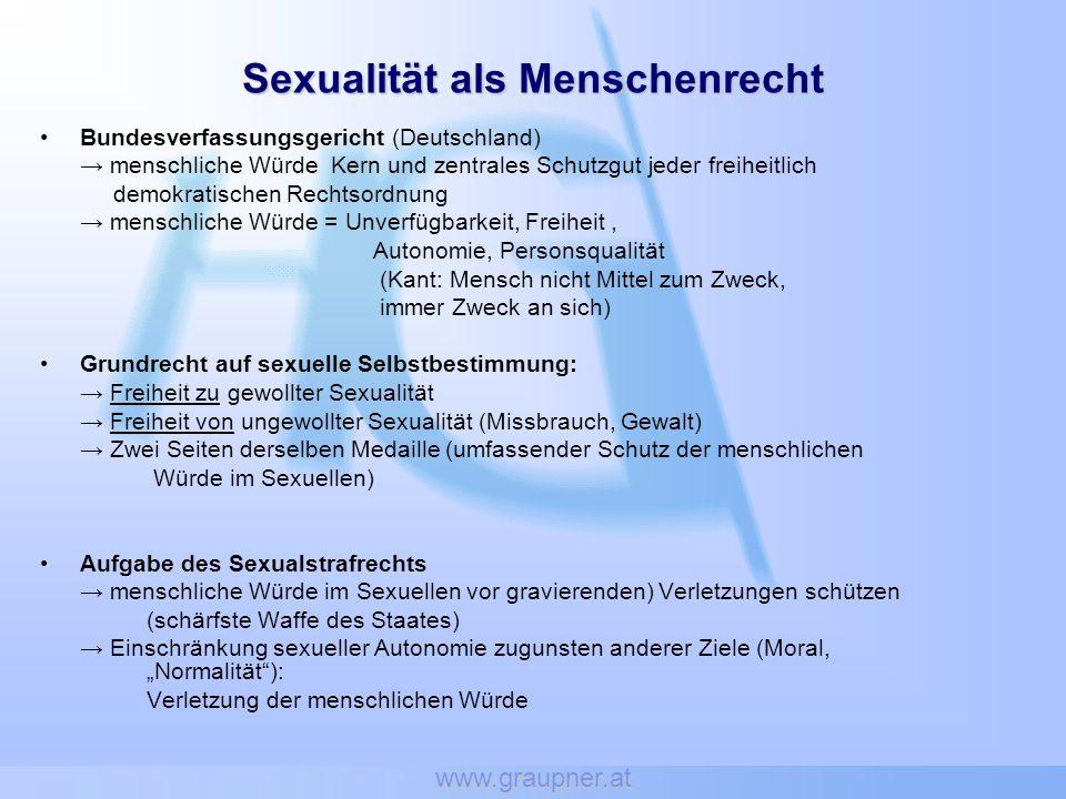 www.graupner.at Bundesverfassungsgericht (Deutschland) menschliche Würde Kern und zentrales Schutzgut jeder freiheitlich demokratischen Rechtsordnung
