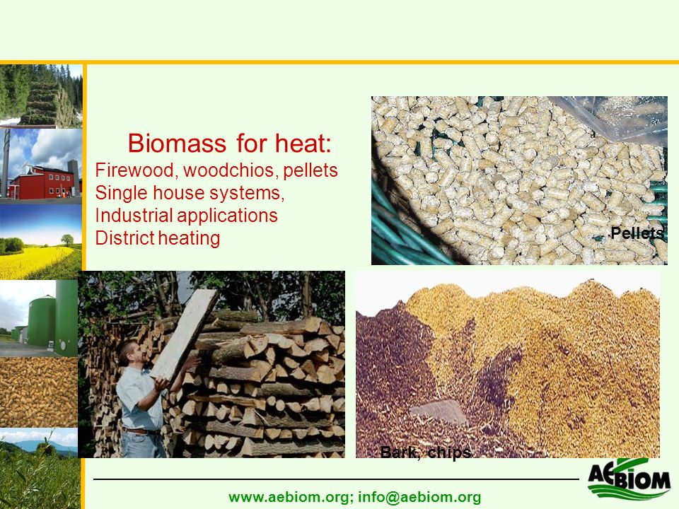 www.aebiom.org; info@aebiom.org Biomass for heat: Firewood, woodchios, pellets Single house systems, Industrial applications District heating Fire wood Bark, chips Pellets