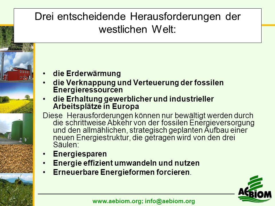 www.aebiom.org; info@aebiom.org Drei entscheidende Herausforderungen der westlichen Welt: die Erderwärmung die Verknappung und Verteuerung der fossilen Energieressourcen die Erhaltung gewerblicher und industrieller Arbeitsplätze in Europa Diese Herausforderungen können nur bewältigt werden durch die schrittweise Abkehr von der fossilen Energieversorgung und den allmählichen, strategisch geplanten Aufbau einer neuen Energiestruktur, die getragen wird von den drei Säulen: Energiesparen Energie effizient umwandeln und nutzen Erneuerbare Energieformen forcieren.