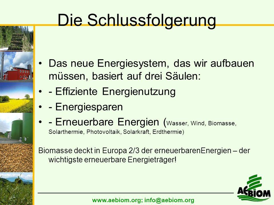 Die Schlussfolgerung Das neue Energiesystem, das wir aufbauen müssen, basiert auf drei Säulen: - Effiziente Energienutzung - Energiesparen - Erneuerbare Energien ( Wasser, Wind, Biomasse, Solarthermie, Photovoltaik, Solarkraft, Erdthermie) Biomasse deckt in Europa 2/3 der erneuerbarenEnergien – der wichtigste erneuerbare Energieträger!