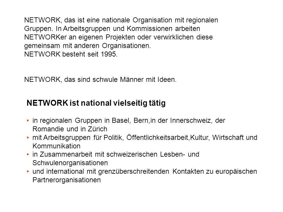 NETWORK, das ist eine nationale Organisation mit regionalen Gruppen. In Arbeitsgruppen und Kommissionen arbeiten NETWORKer an eigenen Projekten oder v