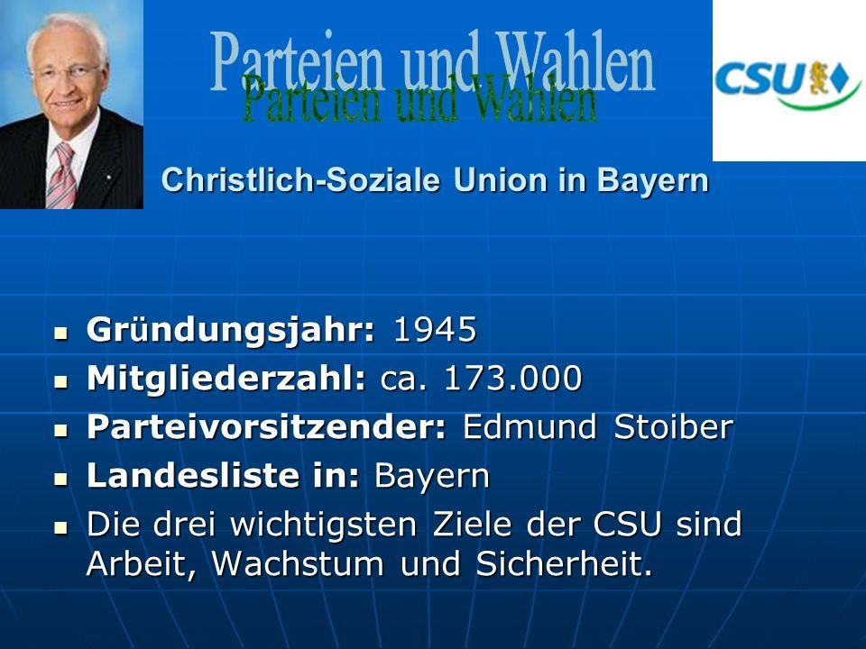 Christlich-Soziale Union in Bayern Gr ü ndungsjahr: 1945 Gr ü ndungsjahr: 1945 Mitgliederzahl: ca.