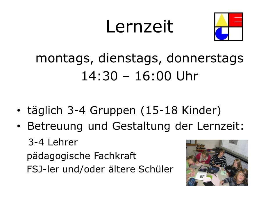 Lernzeit montags, dienstags, donnerstags 14:30 – 16:00 Uhr täglich 3-4 Gruppen (15-18 Kinder) Betreuung und Gestaltung der Lernzeit: 3-4 Lehrer pädago