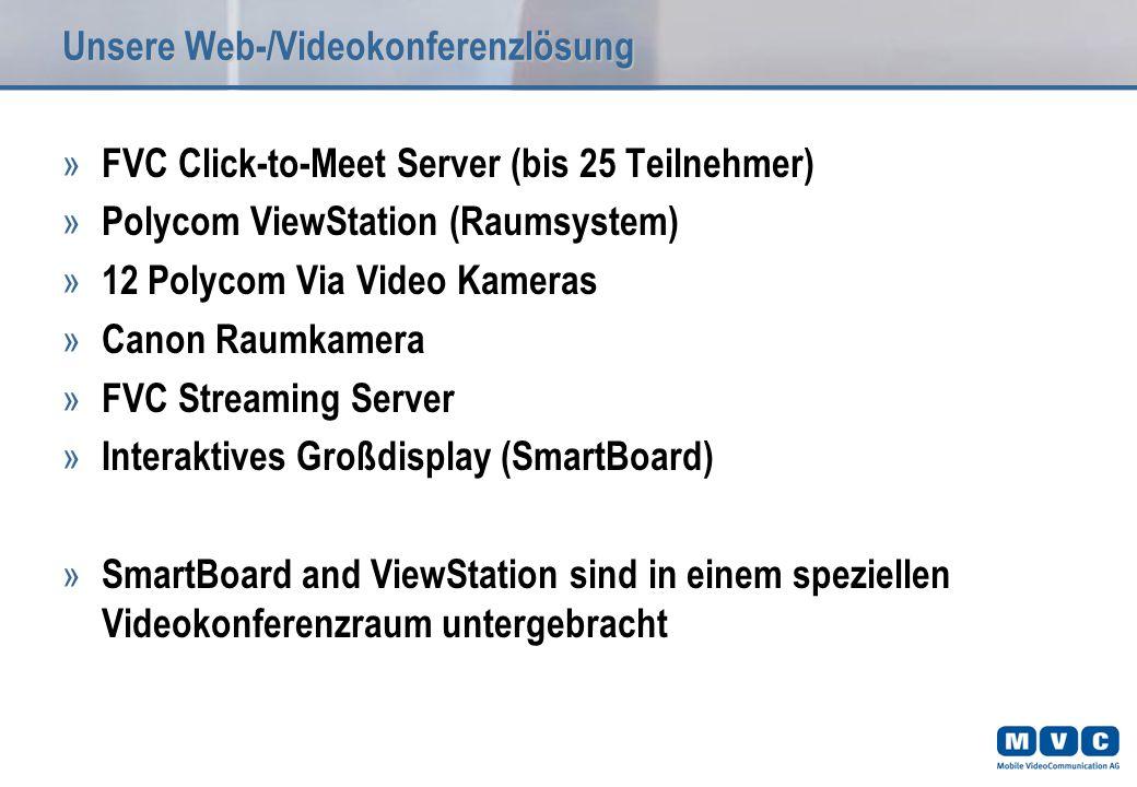 Unsere Web-/Videokonferenzlösung » FVC Click-to-Meet Server (bis 25 Teilnehmer) » Polycom ViewStation (Raumsystem) » 12 Polycom Via Video Kameras » Canon Raumkamera » FVC Streaming Server » Interaktives Großdisplay (SmartBoard) » SmartBoard and ViewStation sind in einem speziellen Videokonferenzraum untergebracht