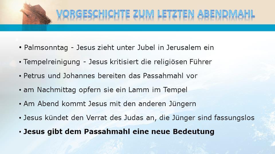 Palmsonntag - Jesus zieht unter Jubel in Jerusalem ein Tempelreinigung - Jesus kritisiert die religiösen Führer Petrus und Johannes bereiten das Passa