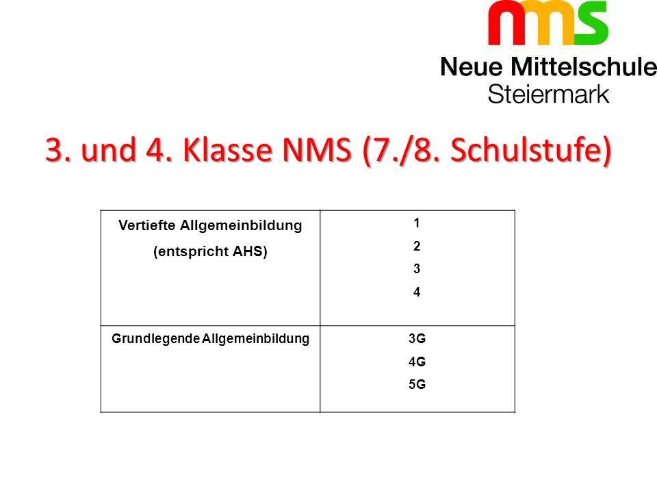 3. und 4. Klasse NMS (7./8. Schulstufe) Vertiefte Allgemeinbildung (entspricht AHS) 12341234 Grundlegende Allgemeinbildung3G 4G 5G