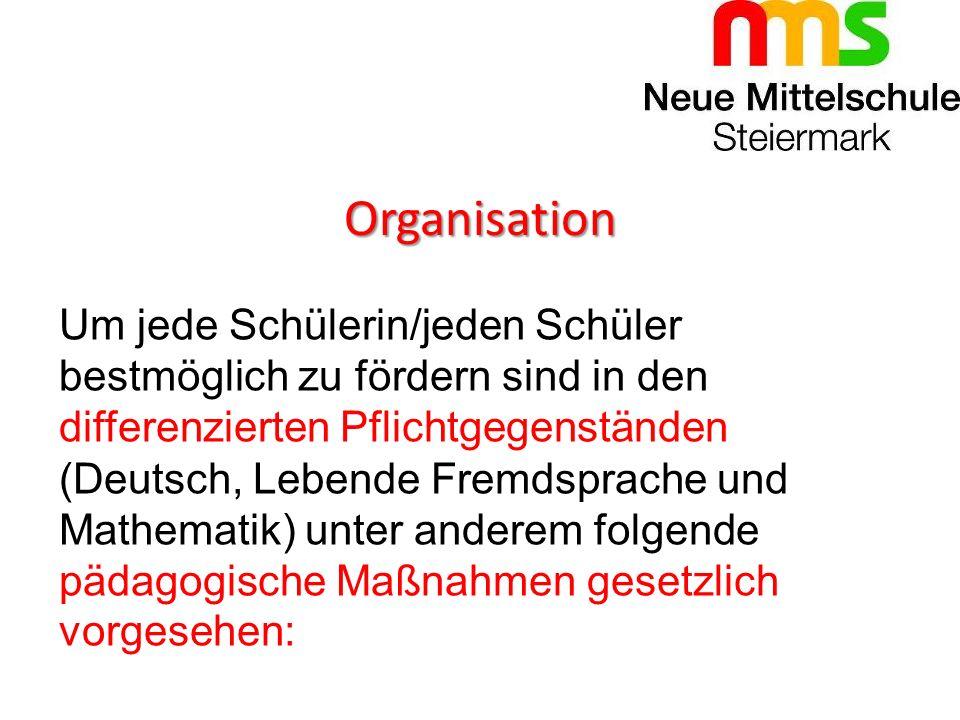 Organisation Um jede Schülerin/jeden Schüler bestmöglich zu fördern sind in den differenzierten Pflichtgegenständen (Deutsch, Lebende Fremdsprache und