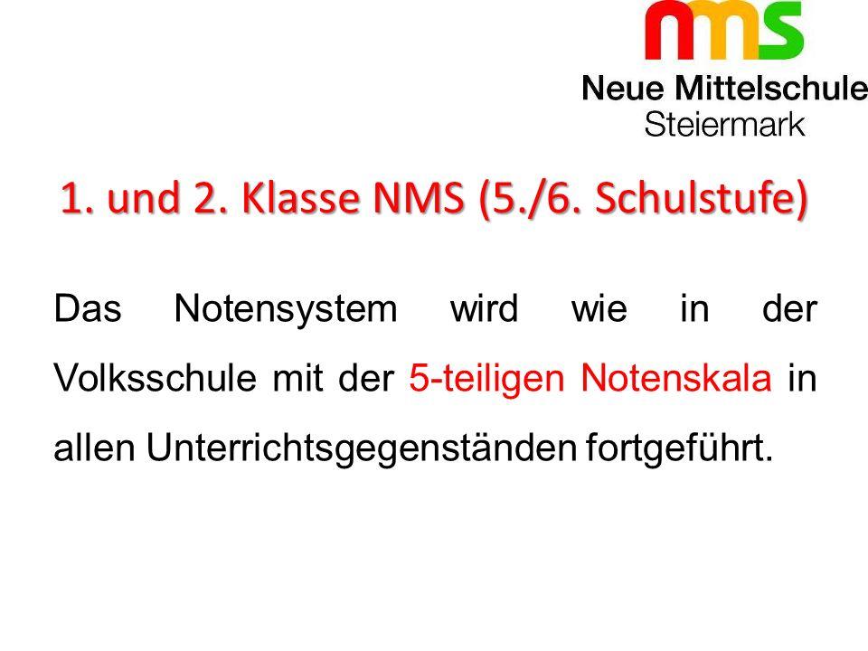 1. und 2. Klasse NMS (5./6. Schulstufe) Das Notensystem wird wie in der Volksschule mit der 5-teiligen Notenskala in allen Unterrichtsgegenständen for