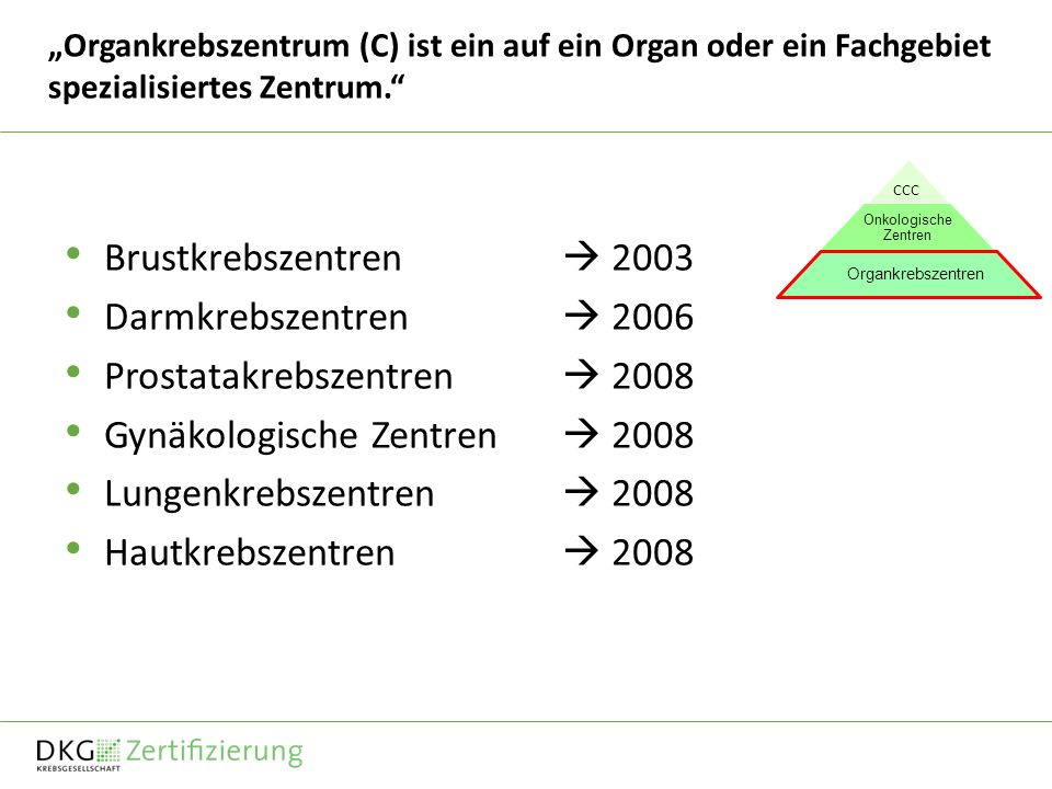 Organkrebszentrum (C) ist ein auf ein Organ oder ein Fachgebiet spezialisiertes Zentrum. Brustkrebszentren 2003 Darmkrebszentren 2006 Prostatakrebszen