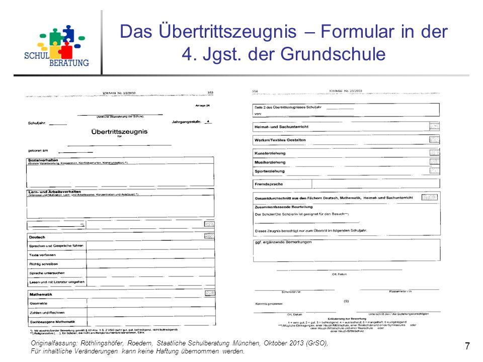 Originalfassung: Röthlingshöfer, Roedern, Staatliche Schulberatung München, Oktober 2013 (GrSO), Für inhaltliche Veränderungen kann keine Haftung übernommen werden.