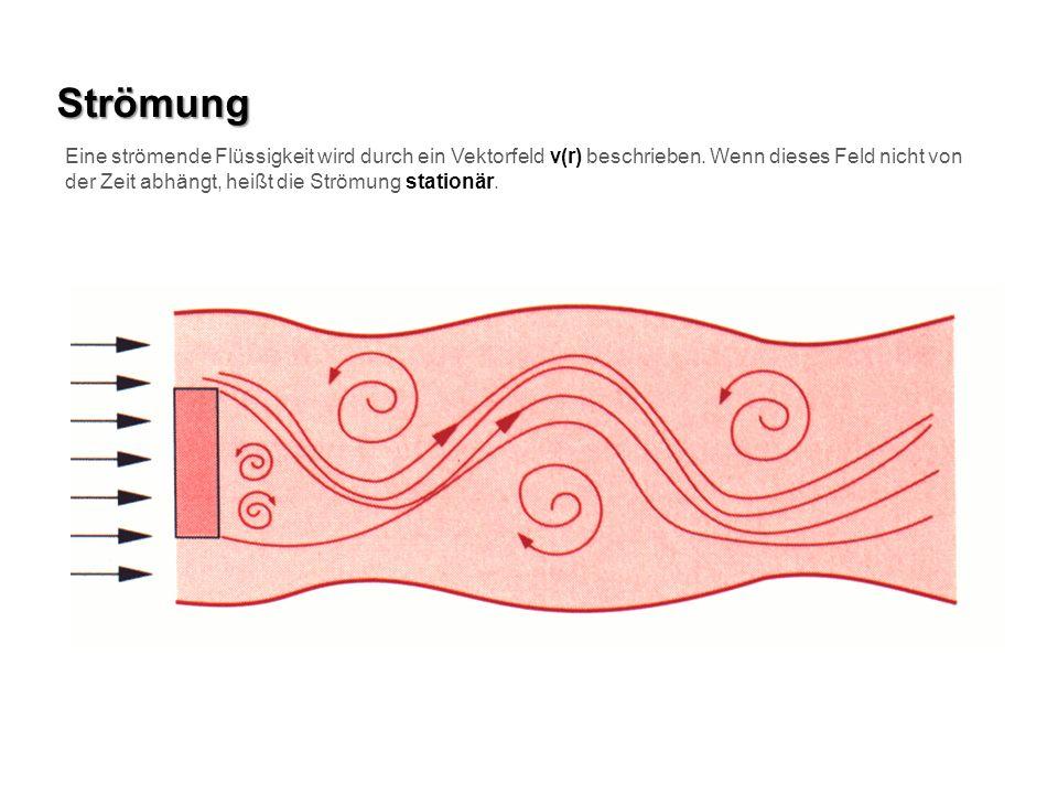 Strömung Eine strömende Flüssigkeit wird durch ein Vektorfeld v(r) beschrieben. Wenn dieses Feld nicht von der Zeit abhängt, heißt die Strömung statio
