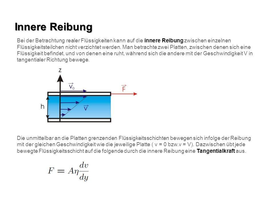 Innere Reibung Bei der Betrachtung realer Flüssigkeiten kann auf die innere Reibung zwischen einzelnen Flüssigkeitsteilchen nicht verzichtet werden. M