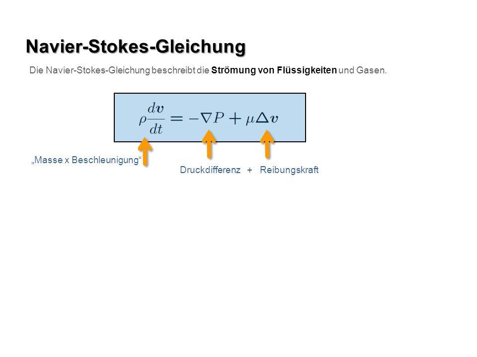 Navier-Stokes-Gleichung Die Navier-Stokes-Gleichung beschreibt die Strömung von Flüssigkeiten und Gasen. Masse x Beschleunigung Druckdifferenz + Reibu