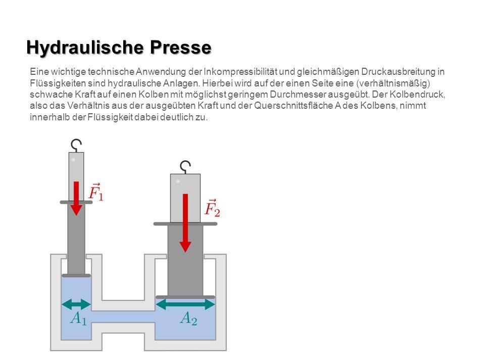 Hydraulische Presse Eine wichtige technische Anwendung der Inkompressibilität und gleichmäßigen Druckausbreitung in Flüssigkeiten sind hydraulische An