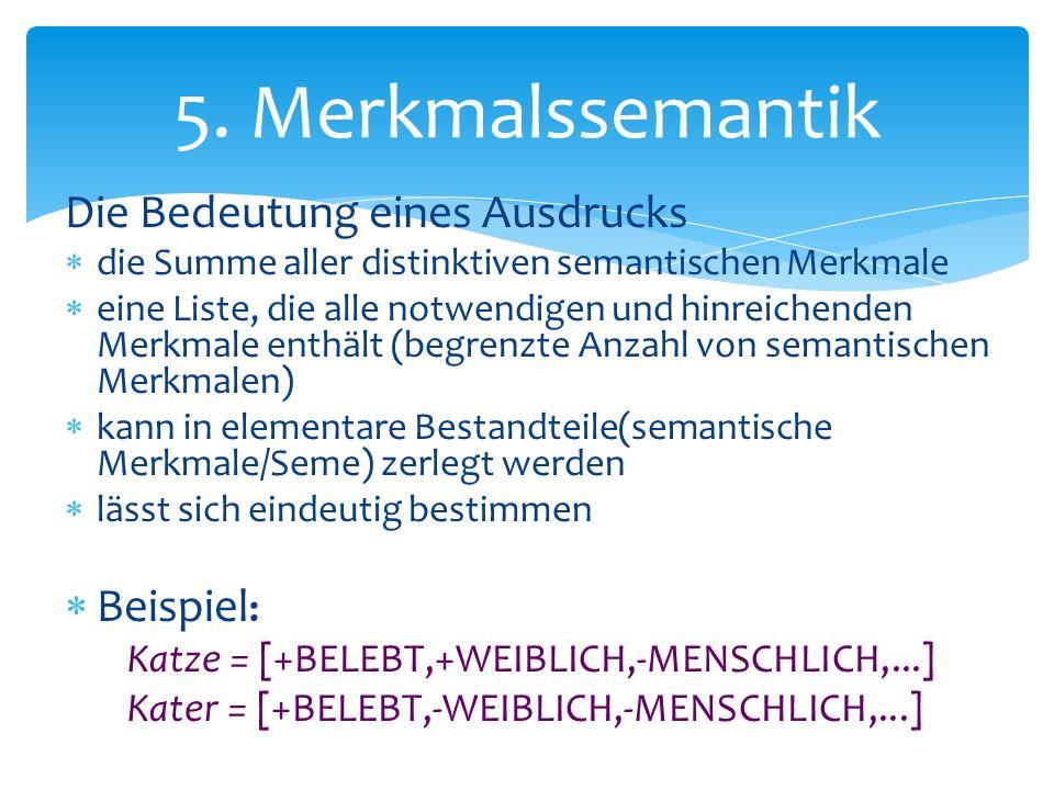 Die Bedeutung eines Ausdrucks die Summe aller distinktiven semantischen Merkmale eine Liste, die alle notwendigen und hinreichenden Merkmale enthält (