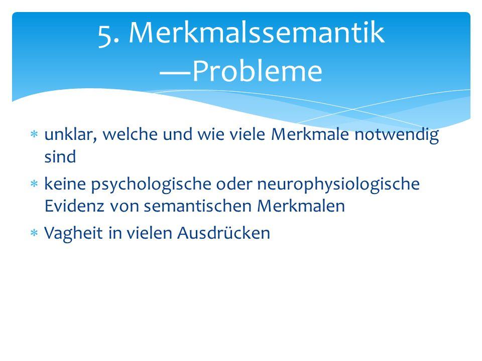 unklar, welche und wie viele Merkmale notwendig sind keine psychologische oder neurophysiologische Evidenz von semantischen Merkmalen Vagheit in viele