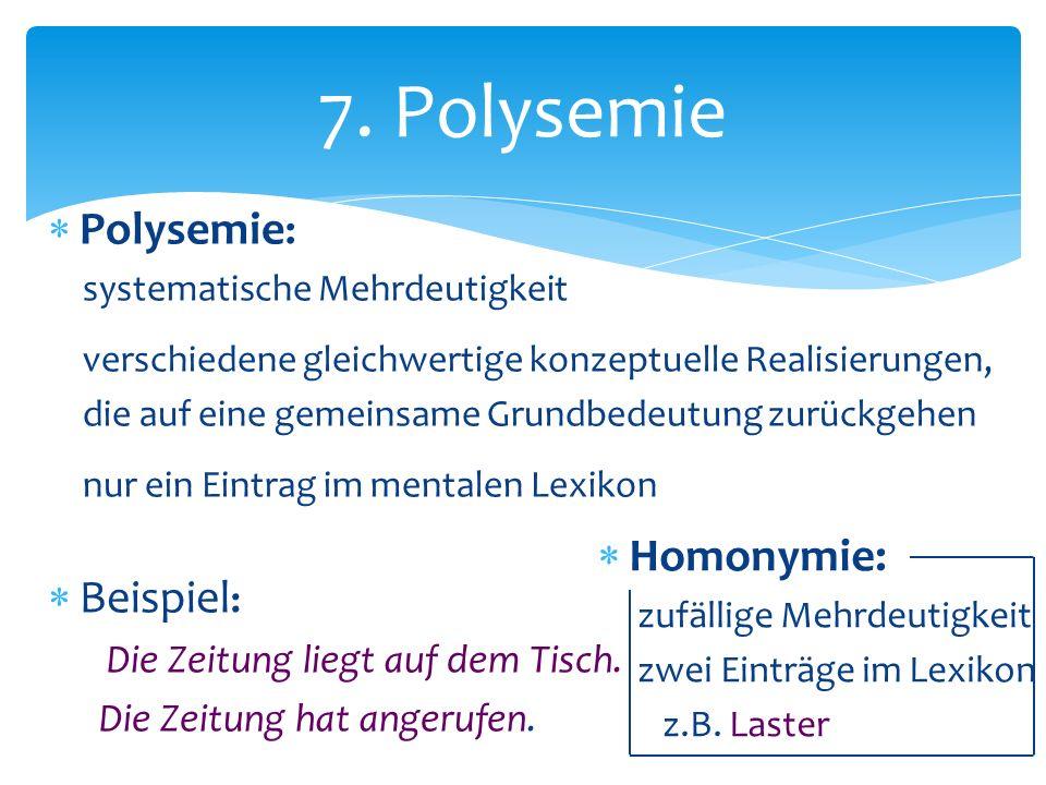 Polysemie : systematische Mehrdeutigkeit verschiedene gleichwertige konzeptuelle Realisierungen, die auf eine gemeinsame Grundbedeutung zurückgehen nu