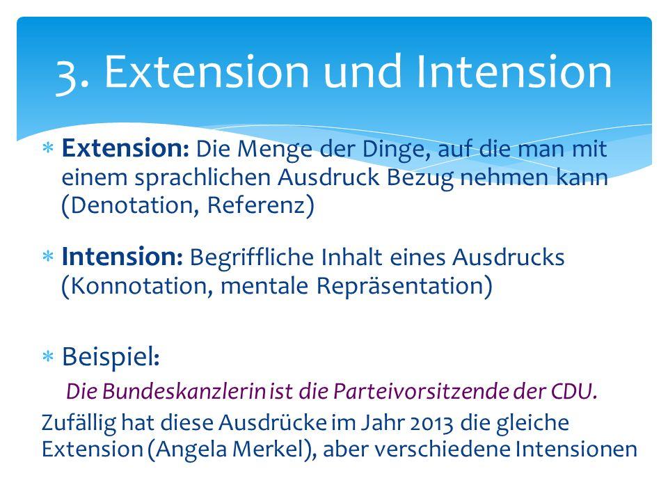 Extension : Die Menge der Dinge, auf die man mit einem sprachlichen Ausdruck Bezug nehmen kann (Denotation, Referenz) Intension : Begriffliche Inhalt