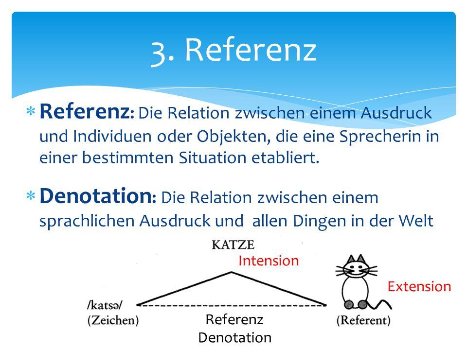 Referenz : Die Relation zwischen einem Ausdruck und Individuen oder Objekten, die eine Sprecherin in einer bestimmten Situation etabliert. Denotation