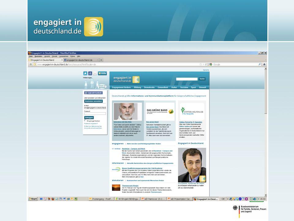 eiD ist Infrastrukturangebot für Engagement Ein einfacher Zugang zum Thema Engagement für alle Engagierten und Interessierten Online und offline unterstützt eiD das Engagement von Veranstaltungen, Veröffentlichungen etc.