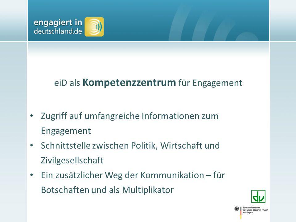 eiD als Kompetenzzentrum für Engagement Zugriff auf umfangreiche Informationen zum Engagement Schnittstelle zwischen Politik, Wirtschaft und Zivilgesellschaft Ein zusätzlicher Weg der Kommunikation – für Botschaften und als Multiplikator