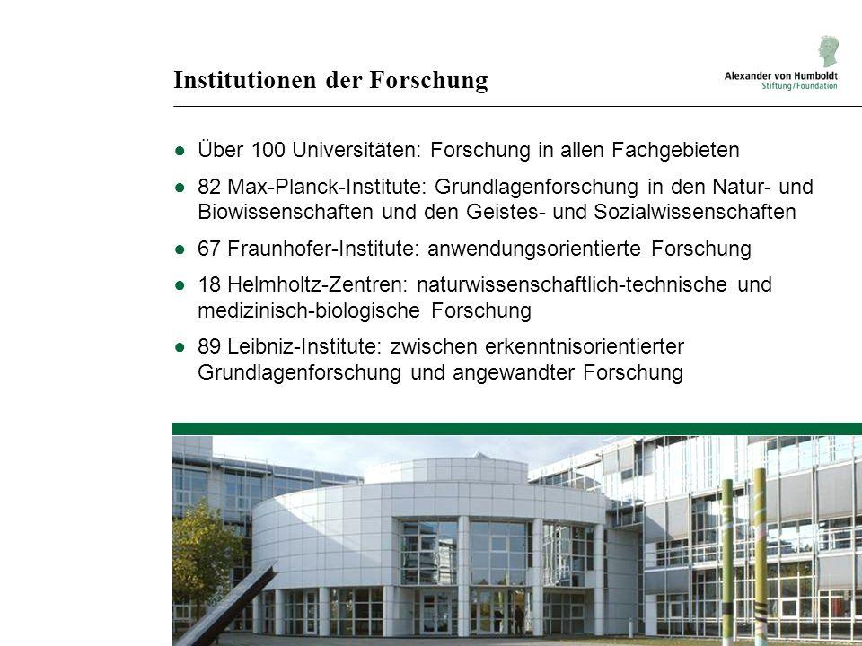Institutionen der Forschung Über 100 Universitäten: Forschung in allen Fachgebieten 82 Max-Planck-Institute: Grundlagenforschung in den Natur- und Bio