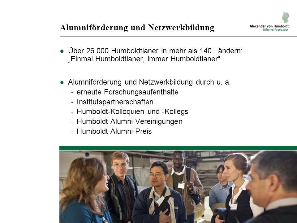 Alumniförderung und Netzwerkbildung Über 26.000 Humboldtianer in mehr als 140 Ländern: Einmal Humboldtianer, immer Humboldtianer Alumniförderung und Netzwerkbildung durch u.