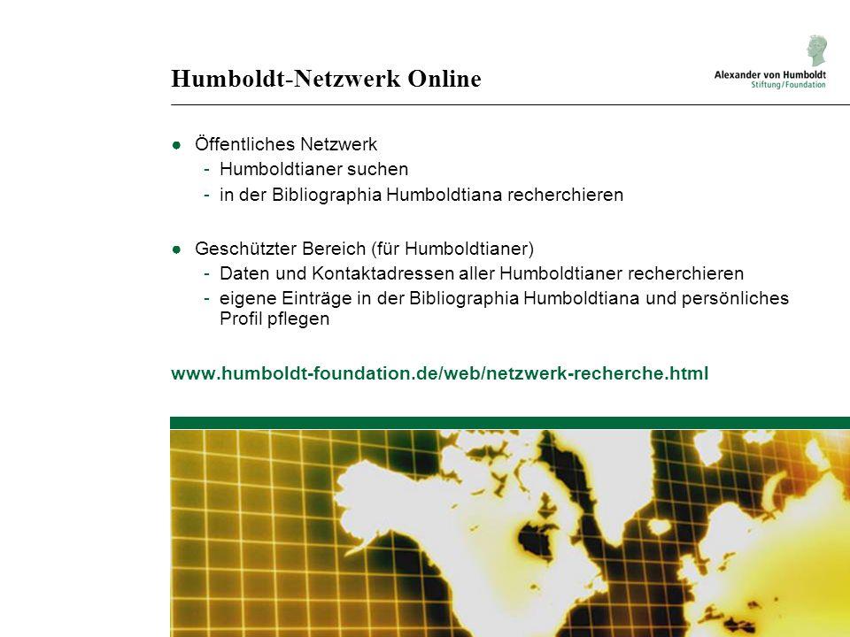 Humboldt-Netzwerk Online Öffentliches Netzwerk -Humboldtianer suchen -in der Bibliographia Humboldtiana recherchieren Geschützter Bereich (für Humbold