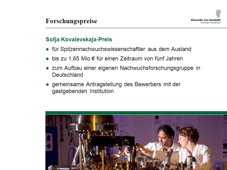 Forschungspreise Sofja Kovalevskaja-Preis für Spitzennachwuchswissenschaftler aus dem Ausland bis zu 1,65 Mio für einen Zeitraum von fünf Jahren zum Aufbau einer eigenen Nachwuchsforschungsgruppe in Deutschland gemeinsame Antragstellung des Bewerbers mit der gastgebenden Institution