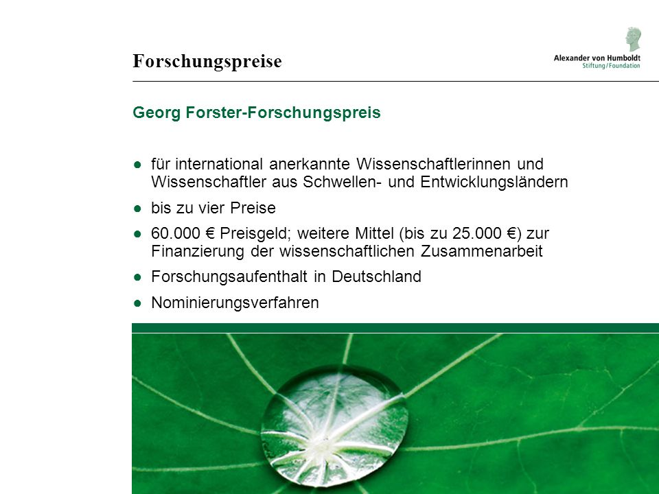 Forschungspreise Georg Forster-Forschungspreis für international anerkannte Wissenschaftlerinnen und Wissenschaftler aus Schwellen- und Entwicklungslä