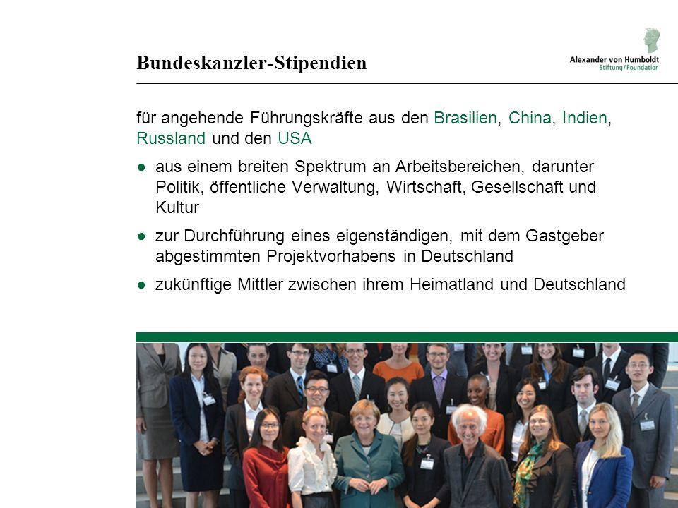 Bundeskanzler-Stipendien für angehende Führungskräfte aus den Brasilien, China, Indien, Russland und den USA aus einem breiten Spektrum an Arbeitsbere