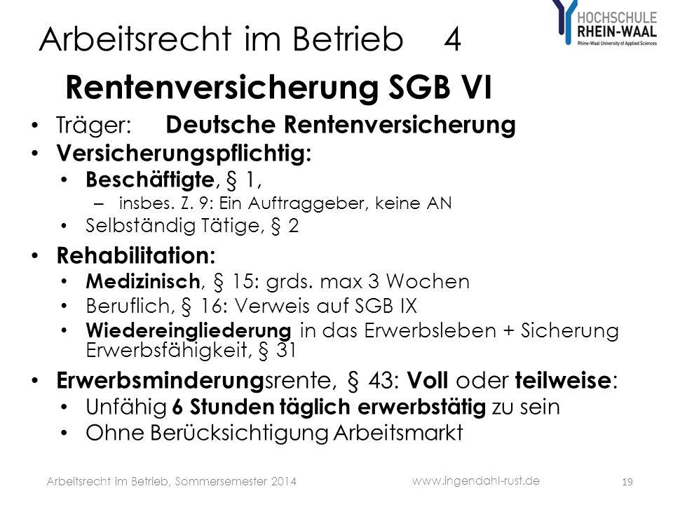Arbeitsrecht im Betrieb 4 Rentenversicherung SGB VI Träger: Deutsche Rentenversicherung Versicherungspflichtig: Beschäftigte, § 1, – insbes.