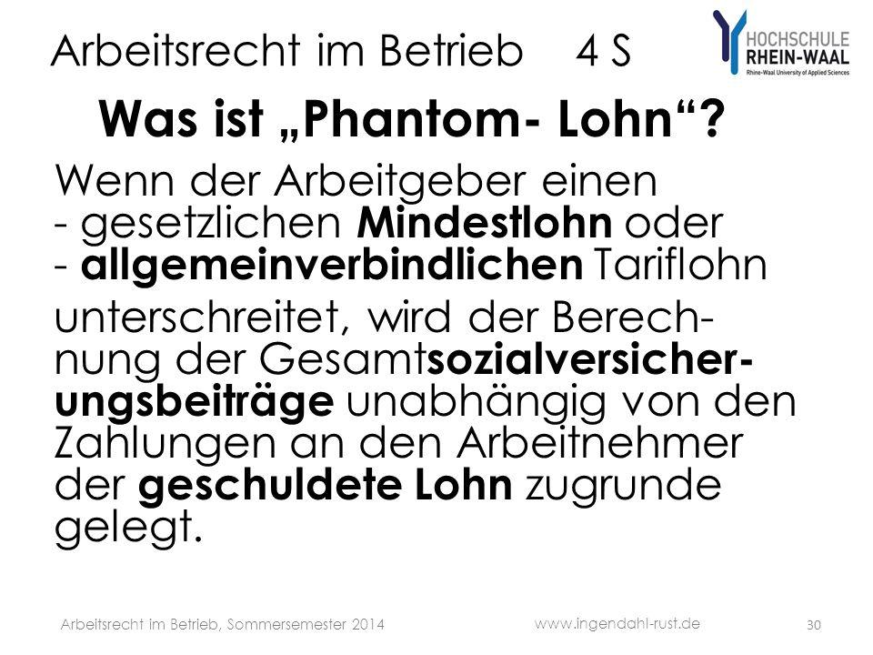 Arbeitsrecht im Betrieb 4 S Was ist Phantom- Lohn.
