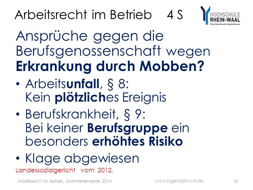 Arbeitsrecht im Betrieb 4 S Ansprüche gegen die Berufsgenossenschaft wegen Erkrankung durch Mobben.
