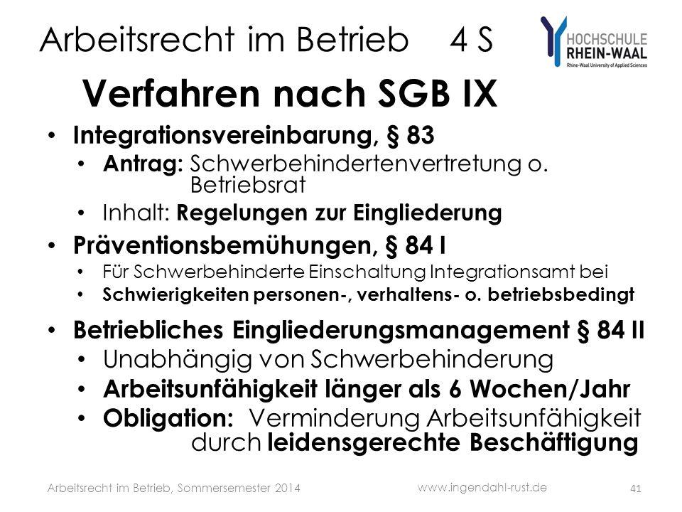 Arbeitsrecht im Betrieb 4 S Verfahren nach SGB IX Integrationsvereinbarung, § 83 Antrag: Schwerbehindertenvertretung o.
