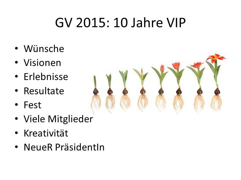 GV 2015: 10 Jahre VIP Wünsche Visionen Erlebnisse Resultate Fest Viele Mitglieder Kreativität NeueR PräsidentIn
